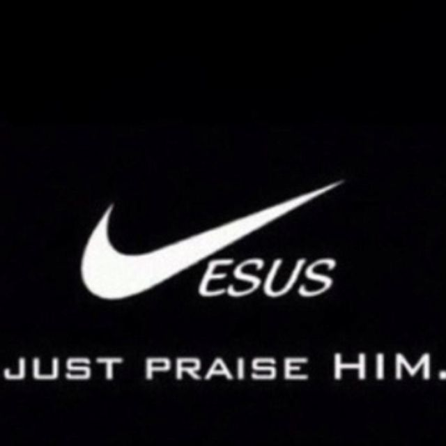 Jesus just praise him spoof to Nike just do it. Great for church ministry logo - t shirt design. Athletic Christian.