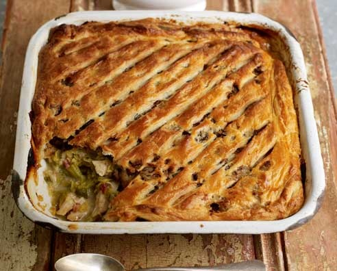Jamie Oliver Christmas Leftovers, Turkey and Leek Pie.Looked really good on his Christmas Show