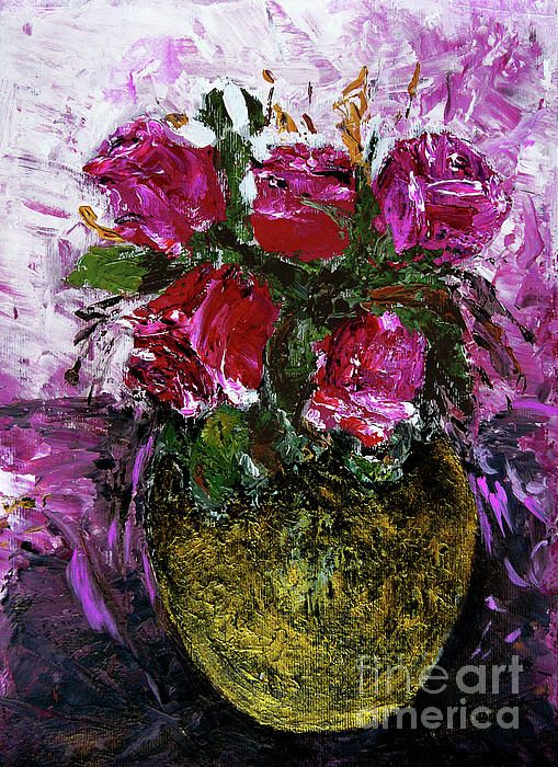 Golden Vase And Roses by Jasna Dragun