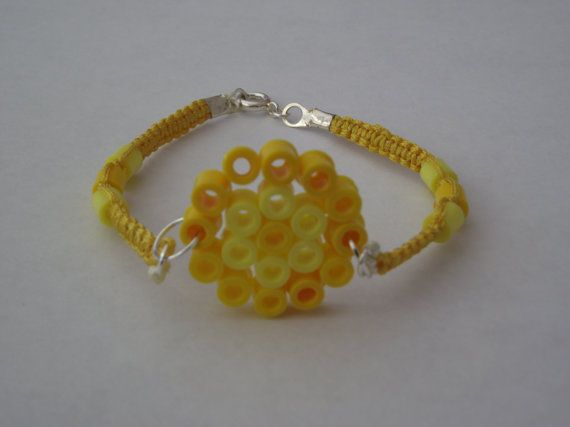 Yellow macrame hama bead bracelet by CleverleyCrafts
