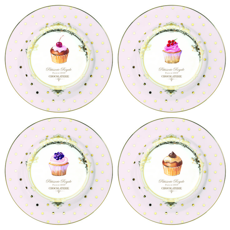 Cake Plate - Dots & Cupcakes - Nuova R2S - www.lotsofballoons.com