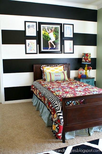 Fun girls bedroom in black and white wall