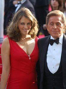 Valentino  Garavani w/Liz Hurley at the Cannes Film Festival. FULL NAME: Valentino Clemente Ludovico Garavani.