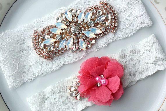 Wedding Garter Set White Pink Rhinestone Opal by TheTossedBouquet