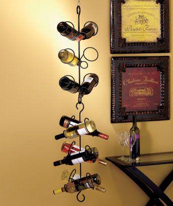 Awesome Hanging Wine Bottle Holder Display Holds 6 Bottles Vino [sm168276 4HWQ]    $12.95
