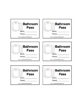 A sheet of six illustrated bathroom passes with room for the student's name and class period. Free to download and print
