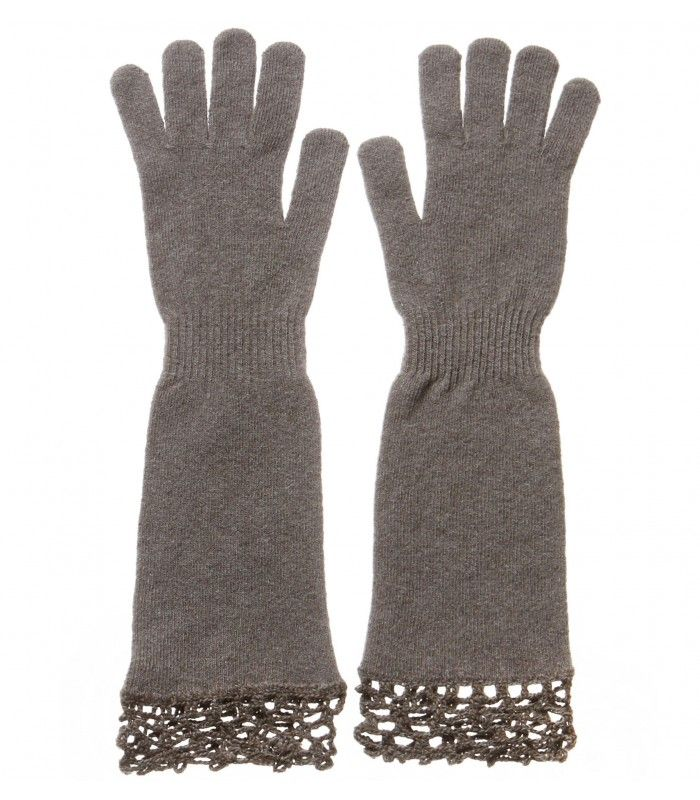 Cashmere Blend Gloves with Handmade Lace Decoration packaged in Signature box
