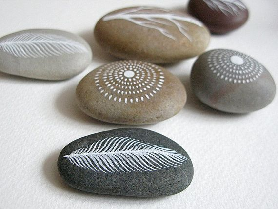 Air and Earth 5 - Collection of 6 Painted Stones with Nature Inspired Designs - by Natasha Newton