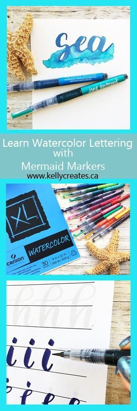 Learn watercolor brush lettering with Kelly Creates using Jane Davenport's Mermaid Markers (American Crafts) and these easy to follow tracing guides #calligraphy #watercolor