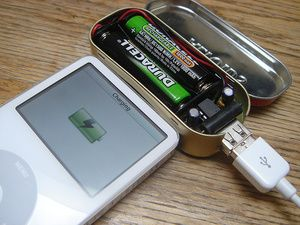 Portable USB Chargers: make one yourself at home out of an Altoids tin. It takes triple A batteries, fits in your pocket