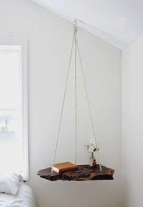 Comodino sospeso - Idee fai da te in legno per la camera da letto.