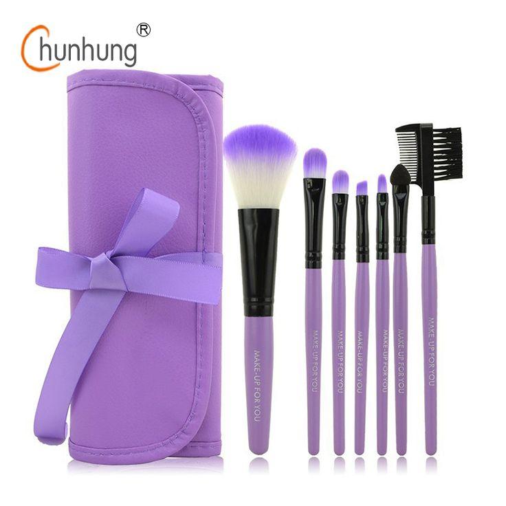 Professionele 7 STKS Up Kwasten Set Gereedschap Make-up Toilettas Kit Wol Merk Make Up Brush Set Case Cosmetische Foundation Brush