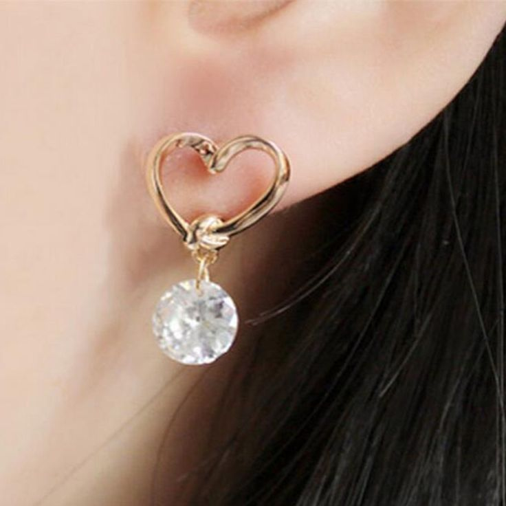 New fashion ear nails for young gold-plated women wedding crystal wedding celebration CZ earrings accessories