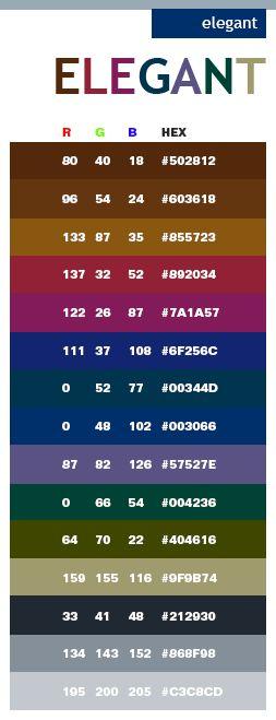 color combinations for graphic design | Elegant color schemes, color combinations, color palettes for print ...