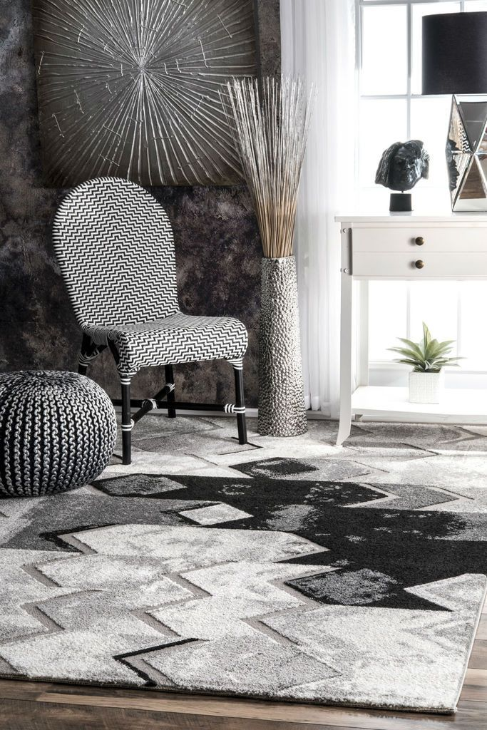 NuLOOM Hilma Abstract Chevron Rug Grey