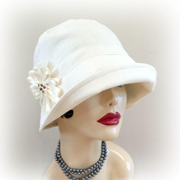 Bucket Hat Cream Linen 1920s Hat Flapper Hat Vintage Style Sunhat Sun Protection Chemo Cream Linen Cloche Women's Sunhat Eleanor Handmade in the USA