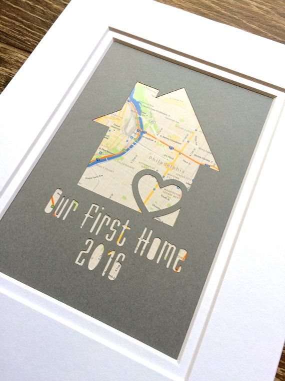 Our First Home Personalized Map Matted Gift