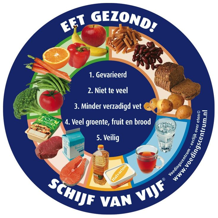 1. Eet gevarieerd 2. Eet niet te veel en beweeg voldoende 3. Gebruik minder verzadigd vet 4. Eet volop groente, fruit en brood 5. Ga veilig met voedsel om