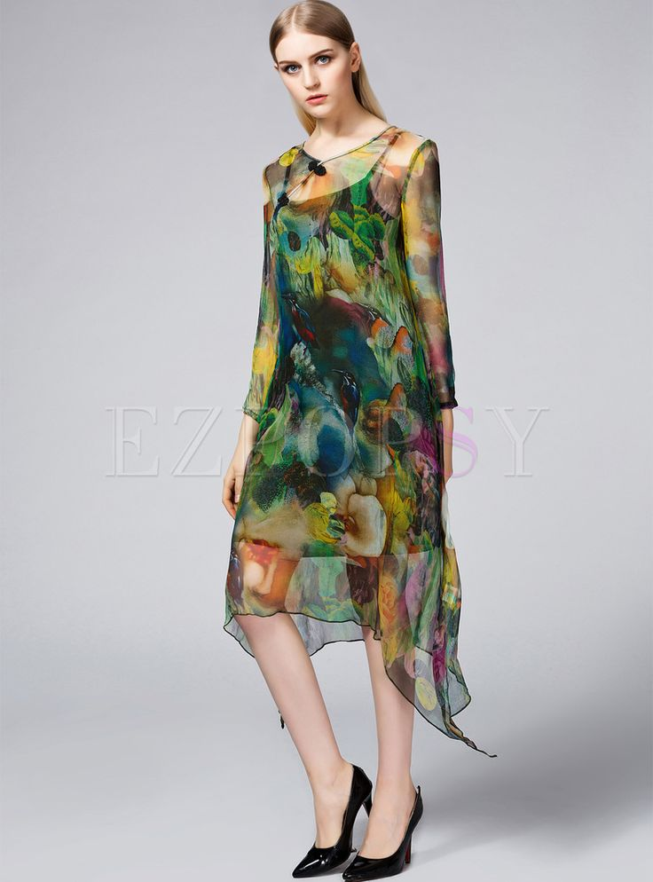 Shop for high quality Loose Floral Print Asymmetric Hem Shift Dress online at cheap prices and discover fashion at Ezpopsy.com
