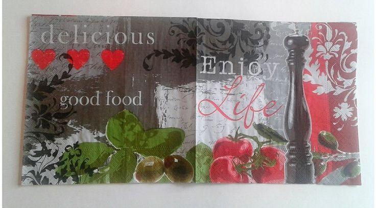 Fűszeres, olivás, paradicsomos szalvéta - KreatívHobbyDekor webáruház