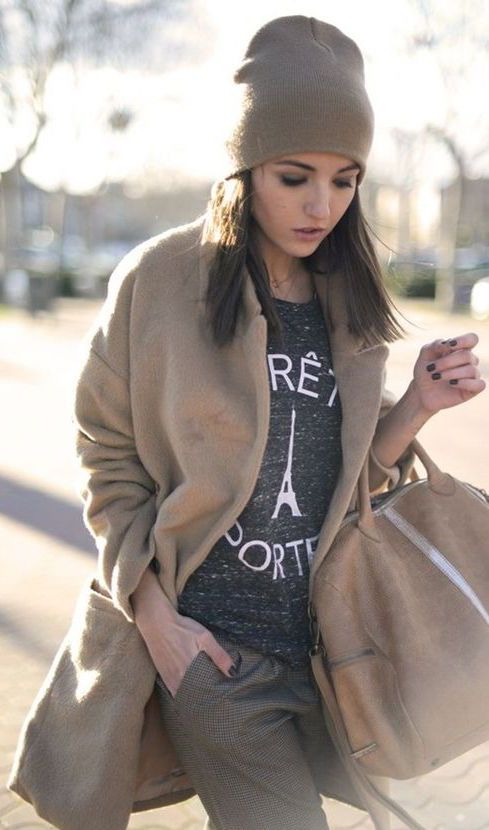 #fall #outfits / camel coat + tee