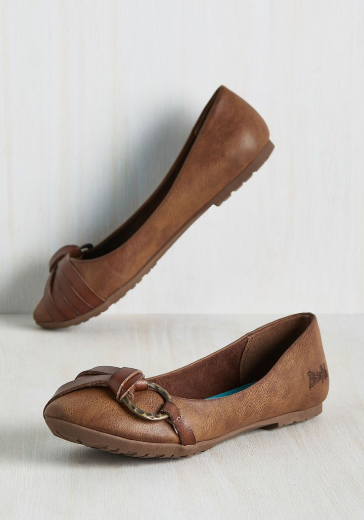 O-Ring to Rule Them All Flat in Coffee. Prove that one does simply walk in style by sporting these faux-leather flats. #brown #modcloth