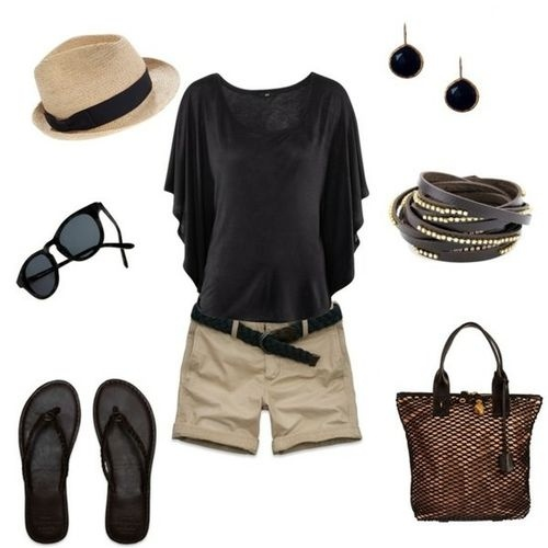 summer clothes: Summeroutfit, Summer Looks, Color Combos, Summer Style, Straws Hats, Cute Summer Outfit, Black, Summer Clothing, Khakis Shorts