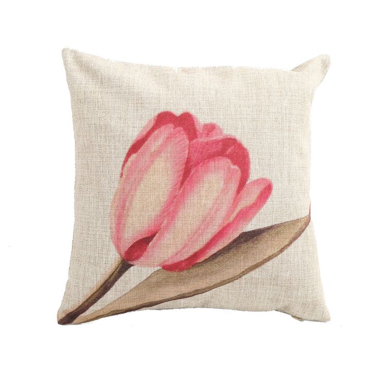 New Vintage Throw Pillow Case Cushion Cover 18  Home Decorative Tulip Sofa Linen