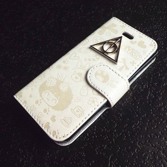 iPhone 5 case,leatherette wallet iphone case,cover white leather Harry Potter and the Deathly Hallows style flip case ,iphone 5 leather case via Etsy