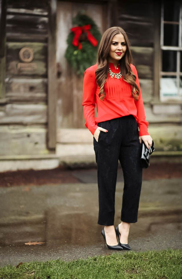 lace pants for a holiday office party. - corilynn. Red blouse+black lace pants+black pumps+black bow clutch+necklace. Christmas Party Outfit 2016