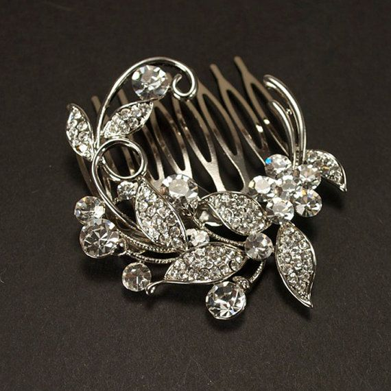Rhinestone Bridal Haircomb, Vintage Style Hair Brooch, Wedding Jewel Comb, Wedding Hair Accessories - Ready to Ship - Rhinestone Floral Com