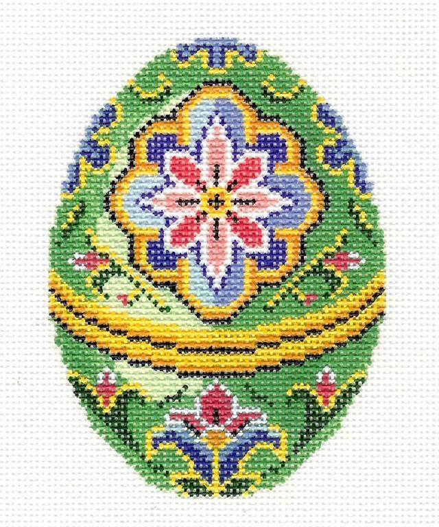 LEE Jeweled Green Floral EGG handpainted Needlepoint Canvas or Ornament #448