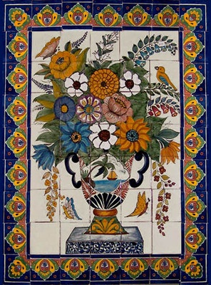 Hand Painted Mexican tile mural art from Dolores Hidalgo. Talavera tile murals and mexican tiles are usually used in traditional country dining room tabletops, and colonial rustic kitchen and bathroom walls.