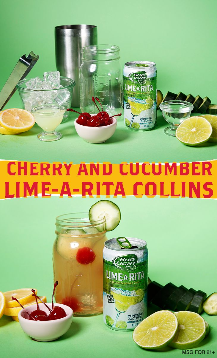 Cherries, lime and cucumbers combine for this perfect sweet treat.   Ingredients:  4-6 oz Lime-A-Rita 2 oz Lemon Juice .5 oz Simple Syrup 2-3 Pitted Cherries 2-3 Cucumber Slices  Garnish:  Cucumber Slice Pitted Cherry  Directions: 1. Combine lemon juice, cucumber, cherries and simple syrup into a shaker with ice and seal. 2. Shake vigorously until chilled, add Lime-A-Rita and strain (without reshaking) into glass. 3. Garnish and serve.