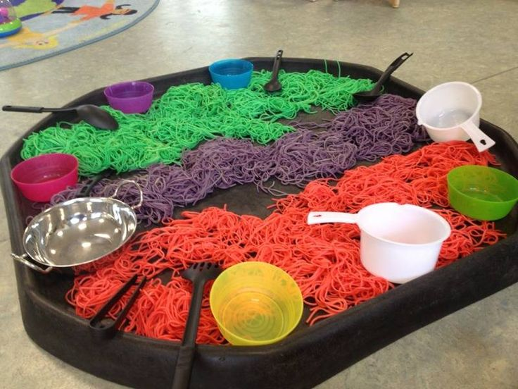 "Coloured spaghetti, pots, pans & utensils from http://bubble-and-balloons.blogspot.co.uk/ ("",)"