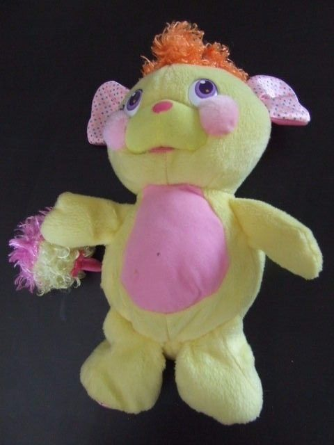 PELUCHE POPPLES HAPPY POPP SONORE 27 CM JAUNE ROSE PLAYMATES TOYS 2007