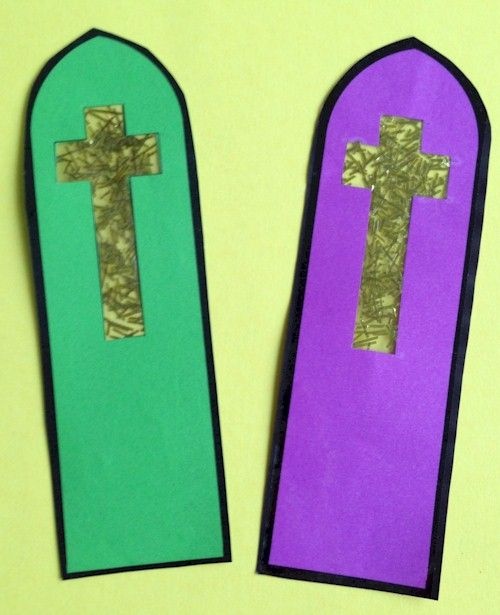 Stained glass cross bookmark craft all activities for for Bookmark craft for kids