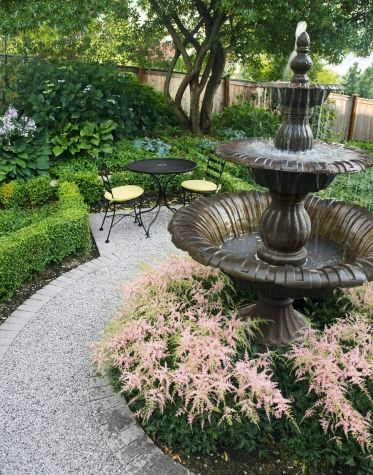 Backyard fountain garden idea
