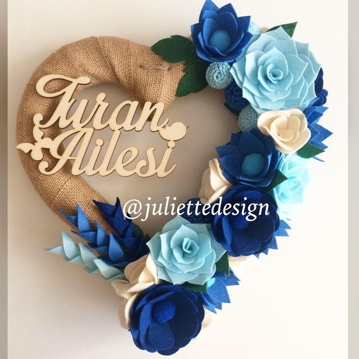 Valentine Wreath, Personalized Wreath, Felt Wreath, Custom Wreath, Blue Wreath, Heart Wreath by juliettesdesigntr on Etsy https://www.etsy.com/listing/569664672/valentine-wreath-personalized-wreath