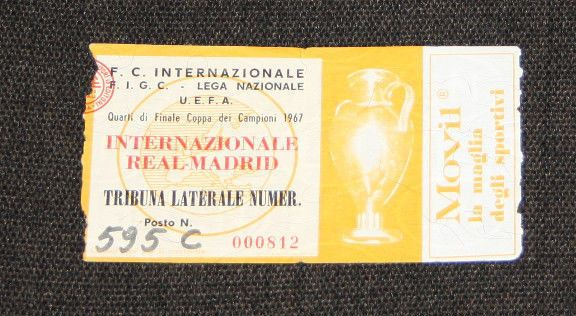 TICKET INTER MILAN REAL MADRID EUROPEAN CHAMPIONS CLUBS CUP 1/4 FINAL 1967