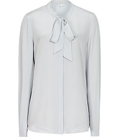 Womens Abyssal Blue Pussy Bow Blouse - Reiss Julie