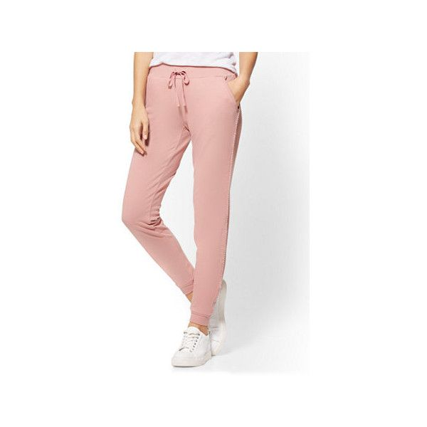 Rhinestone-Accent Jogger Pant ($45) ❤ liked on Polyvore featuring pants, pink, white elastic waist pants, elastic waist pants, drawstring jogger pants, stretch waist pants and white jogger pants