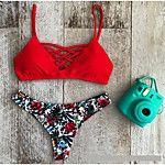 Mujer Estampado Con Cordones Bikini Bañadores Sólido Rojo Verde Azul Azul Claro Azul Real 2018 - €9.8