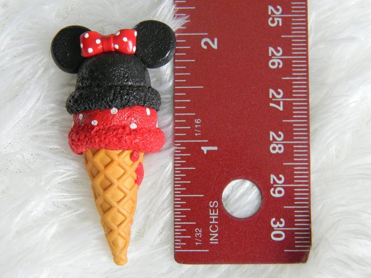 Hoping to find someone who can make this as a Christmas Ornament. Kids get a themed ornament for their birthday every year. - Minnie Mouse Ice Cream Charm- Polymer Clay by ~ThePetiteShop on deviantART