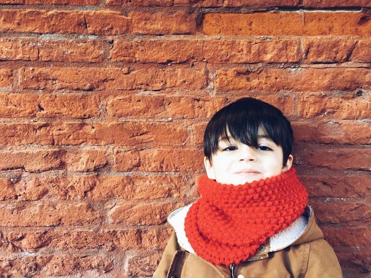 tuto snood enfant tricoté au point de riz
