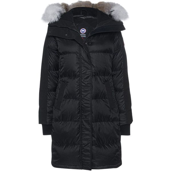 Canada Goose Rowley Black // Down parka with fur trim (71,180 PHP) ❤ liked on Polyvore featuring outerwear, coats, hooded parka, fur trim hooded coat, hooded parka coat, feather coat and fur trim parka coat