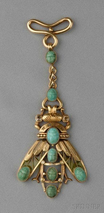 Art nouveau 18kt gold, plique-a-jour enamel, turquoise, and colored diamond fob, designed as a scarab with plique-a-jour enamel wing.