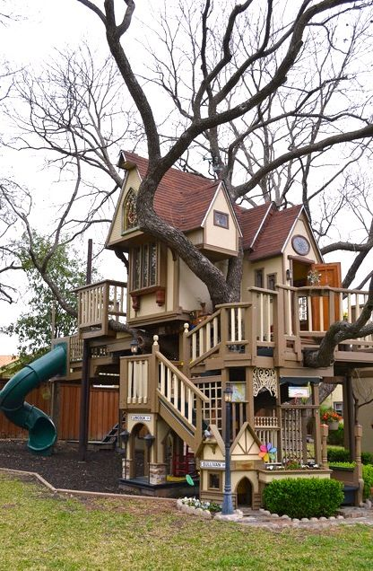 giant kids tree house in family backyard.