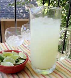How to make a frosty pitcher of margaritas on the rocks; recipe from Grandma's Cookbook of kitchen-tested recipes.