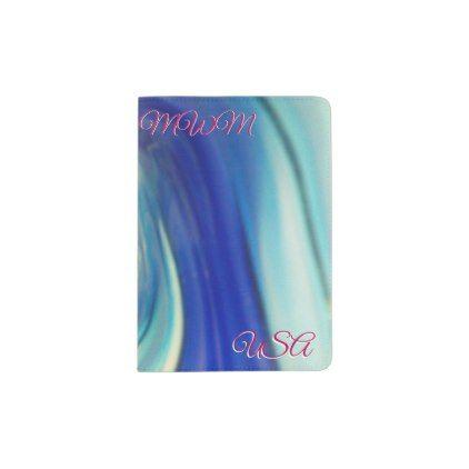 Blue and White Swirl Pattern Passport Holder - pattern sample design template diy cyo customize